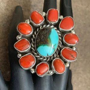 Jewelry - Navajo SterlingSilver SpiderwebTurquoisecoralRing
